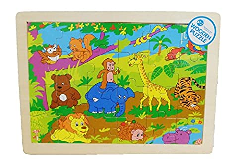 Fun Wooden Puzzle JUNGLE Animal Design - Suitable From 36