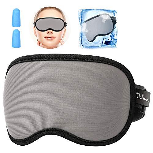 Seiden Schlafmaske Damen und Herren, HOMMINI Schlafbrille Augenmaske 100% Lichtschutz, Super Weich und Bequem, Augenmaske für Reisen, Schichtarbeit und Nickerchen, Inklusive Ohrstöpseln
