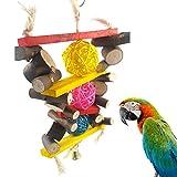 CricTeQleap Kleines Haustier Kauen Spielzeug, Bunte Rebe Kugeln aus Holz h?ngende Klettern Papagei Kauen Spielzeug Dekor Heimtierbedarf - zuf?llige Farbe