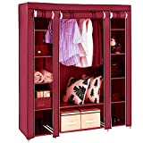 Anva Portable Closet Wardrobe Storage Organizer (Red)