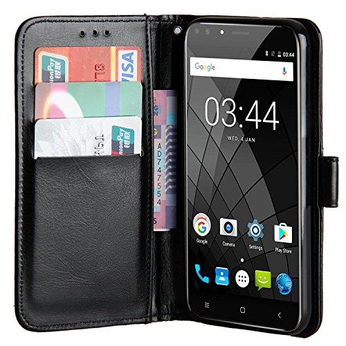 Raiphy Leder Brieftasche Hülle für Oukitel U22,Telefon schützender lederner Fall mit Einem Einbauschlitz und Standfunktion (Schwarz)