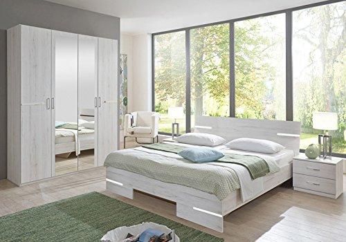PEGANE Chambre Adulte en Panneaux de Particules Imitation chêne Blanc - 140 X 200 cm