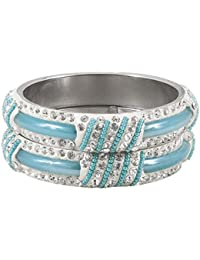 DollsofIndia Pair Of Light Blue Metal Bangles With Stone And Beads - Size - 2-6 - Dia - 2.4 Inches (RE98) - Blue