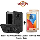 Like It Grab It MOTO E4 PLUS Back Cover / E4 PLUS (COMBO OFFER) Hard Armor Hybrid Bumper Flip Stand Rugged Back Case Cover For MOTO E4 PLUS / E4 Plus + Full Coverage 2.5D Curved Tempered Glass Screen Protector (Black-Gold)