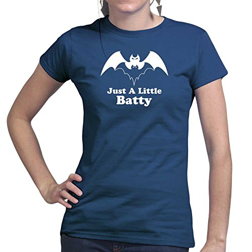Womens A Little Batty Halloween Ladies T Shirt (Tee, Top) Navy Blue