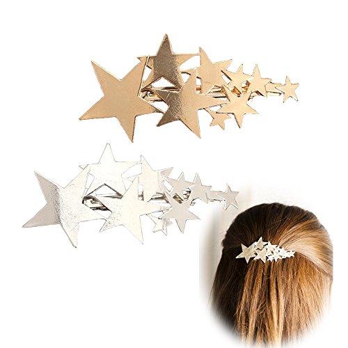 Fermagli per capelli a forma di pentagramma, da donna, confezione da 2