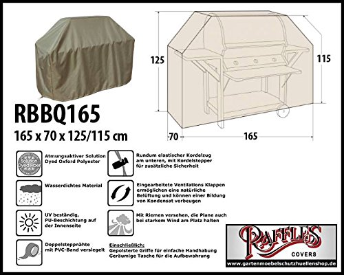 Raffles Covers RBBQ165 Grill Abdeckplane 165 x 70 H: 125/115 cm Wetterschutzhülle für Grill, Abdeckplane BBQ