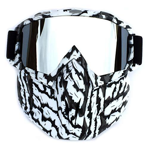 Sonnenbrillen Mode Motorradbrillen mit Abnehmbarer Maske Airsoft Schutzbrillen Maske Winddicht wasserdicht Motorrad Ridding Glasses (Color : 6, Size : One Size)