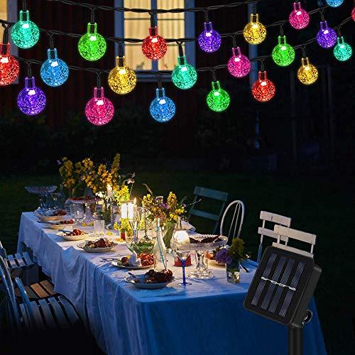 Lichterkette Solar Aussen, Vegena Bunt LED Lichterkette Außen Kristall Kugel 7M 50 LEDs 8 Modi IP65 Wasserdicht für Garten Bäume Terrasse Hof Haus Weihnachten Party Deko Energieklasse A+++