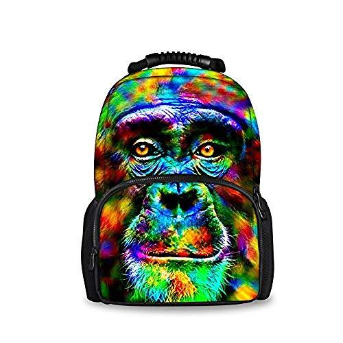 SFAOBTB Kinder Schultasche, Mädchen, Jungen Tasche Funky Animal Owl Rucksack Tasche Teens Jungen Mädchen Schule Umhängetaschen@Orang-Utan Funky Animal