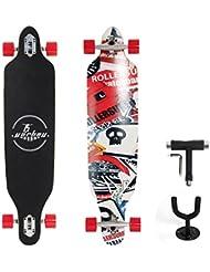 """Yorbay 41""""pulgadas tabla monopatín skateboard completo hecho con 9 capas de madera de arce hasta 180kg (modelo 4/ruedas rojas)"""