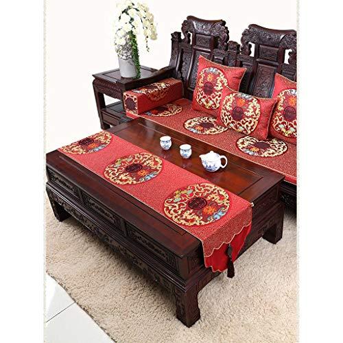 Chemin de table ZHAOSHUNLI Nappe de, Jade Chinois, Table Basse Pastorale, Noble, Auspicious, Harmony (Couleur : Rouge, Taille : 34 * 300cm)