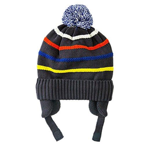 magracy Kleinkind Beanie Kids Hat Boys, striped knit Hat mit Ohrenklappen Winter Warm Peru Hat Gr. Small, grau (Hut Stricken Beanie Cuff)
