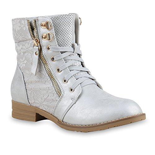 Stylische Damen Stiefeletten Worker Boots Knöchelhohe Stiefel Gesteppt Damen Leder-Optik Zipper Ketten Schuhe 134632 Silber 38 | (Damen Sale Stiefel)