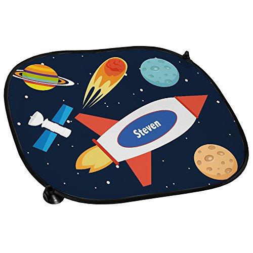 Preisvergleich Produktbild Auto Sonnenschutz mit Namen Steven und schönem Weltraum-Motiv für Jungs