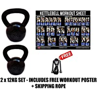 FXR 2 x 12KG KETTLEBELLS STRENGTH TRAINING HOME GYM FITNESS KETTLEBELL SET