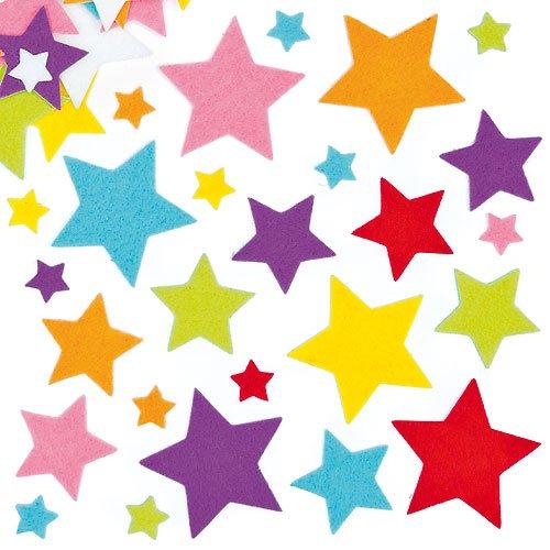 Baker Ross Sterne Filzaufkleber für Bastel- und Kunstprojekte, Karten, Partytüten und Dekorationen für Kinder (144 Stück)