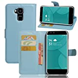 Doogee Y6/Doogee Y6C Handyhülle Book Case Doogee Y6/Doogee Y6C Hülle Klapphülle Tasche im Retro Wallet Design mit Praktischer Aufstellfunktion - Etui Blau