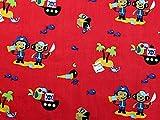 Piraten Print Baumwolle Kleid Stoff, Meterware, Rot