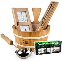 SAWO Accesorios de madera de cedro para sauna 5 piezas: Cubo 4L y Cucharón 46cm juntos con Termómetro/Higrómetro, Reloj de Arena y Aceite Esencial 5x15ml