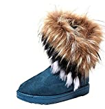 LED women winter warm high long snow Ankle boots faux fox rabbit fur tassel shoes Blue 8 B(M) US