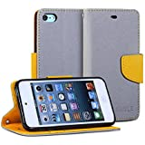 iPod 5 Case, GMYLE(R) Wallet Case Classic for ipod Touch 5th Generation - Silver Grey & Orange Cross Pattern PU Leather Protective Folio Slim Fit Wallet Stand Case Cover