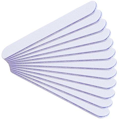 NAILFUN 12 Limas Rectas con Grano de 80/80 Color Blanco/Violeta