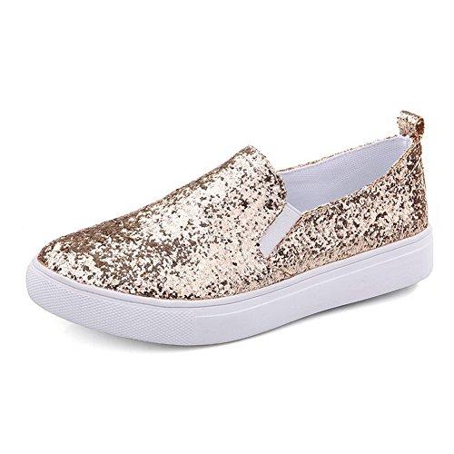 AllhqFashion Damen Rund Schließen Zehe Niedriger Absatz Blend-Materialien  Rein Pumps Schuhe Golden