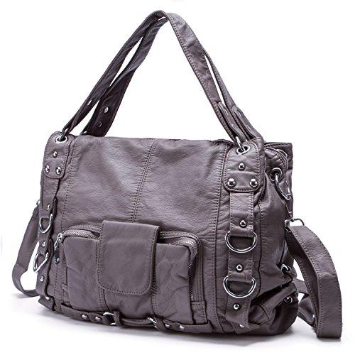Damen Handtasche Gewaschen Weiche Leder Große PU Cross Body Schulter Taschen für Frauen - Khaki Grau