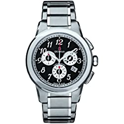 GROVANA 2094.9137 Men's Quartz Swiss Watch with Black Dial Chronograph Display and Silver Stainless Steel Bracelet