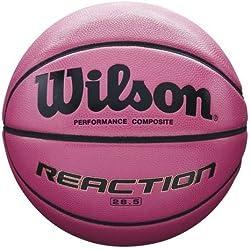 Wilson Ballon de Basketball tout terrain , Compétition, Parquets sportifs, Taille 6, REACTION, Rose, WTB1218XD06