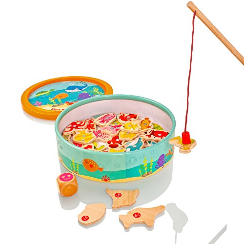 Milly & Ted Wooden Magnetic Fishing Game - Wood Toy Board Game For Children or Toddlers
