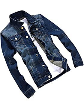 Hombre Outwears Vaquera Manga Larga Denim Jacket Slim Fit Chaqueta De Mezclilla