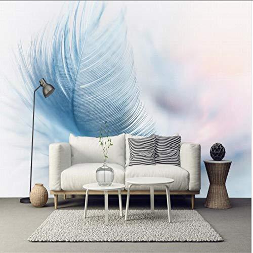 Lifme Benutzerdefinierte Wandbild Foto Mode Retro Modern Minimalistic Ästhetische Blaue Feder Tv Hintergrundbild Wallpaper3D-280X200Cm