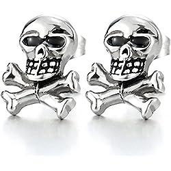 Pendientes de pirata estilo punk gótico de acero inoxidable