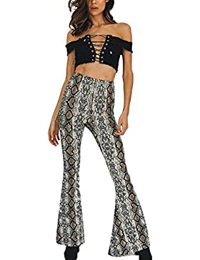 Prettyp Pantalones de Campana con Estampado de Piel de Serpiente y Cintura Alta Pantalones de Campana con Estampado...