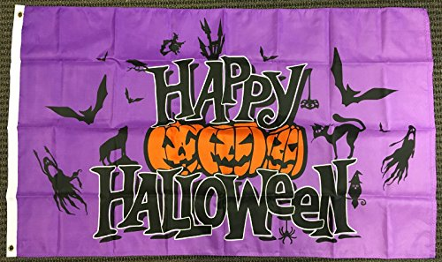 3x5 Purple Happy Halloween Flag Pumpkins Bats Ghosts Cat Outdoor Banner Pennant (Pennant Banner Purple)