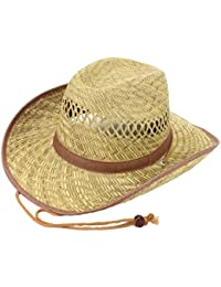3dc727d6f8f Hawkins Hats STRAW COWBOY HAT WITH BROWN BAND   TRIM FESTIVALS LADIES MENS