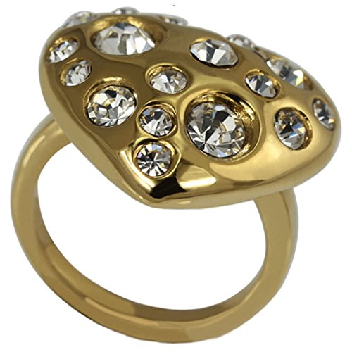 Delle donne anelli in acciaio inox Cubic Zirconia Band Set cuore d'oro Dimensione 12 di (22k Oro Cuore)