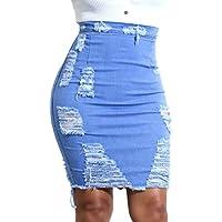 Juleya Mujer Retro Azul Corto Falda de Mezclilla Rectificado De Bordes Mini Vaquera Faldas S - 2XL