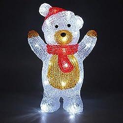 Monzana Figurine lumineuse LED en acrylique Décoration de Noël Nounours debout Ours polaire lumineux Illumination de noël