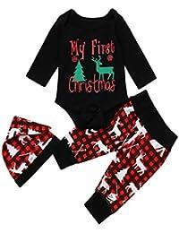 ZEZKT-Baby 'My first Christmas ' Weihnachten Neugeboren Rentier Strampler Mädchen Jungen Outfits 3 Stück Spielanzug + Hose + Hut Set Niedlich Party Anzüge Kinder Outfits