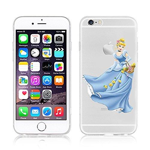 NEW Disney Princesses Transparent Coque souple en TPU pour Apple iPhone 5, 5S, 5C, 6 &6S (iphone 5c, Cindrella)
