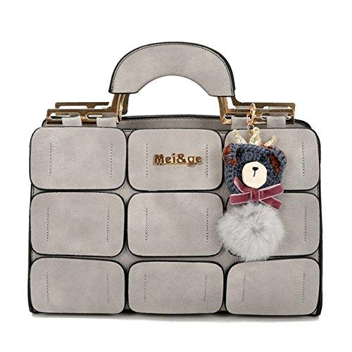 Lalang Frauen Jiugong-Gitterspleißen Stil Mode Schultertasche Schulter Beutel Messenger Handtasche (Schwarz) Hellgrau