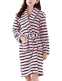 ECHERY Mujer Albornoz Kimono Suave Polar de Coral Batas de SPA Bata Otoño Invierno Pijamas Ropa