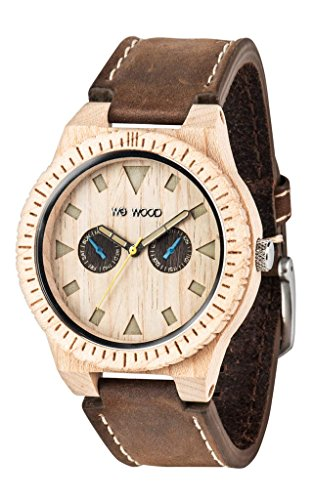 Wewood LEO Leather Beige Herrenuhr Holzuhr