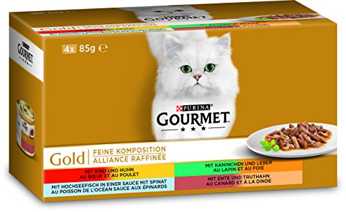 Gourmet Gold Feine Komposition Katzenfutter, Mix, 12er Pack (12 x 340 g)