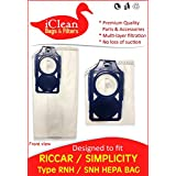 Riccar RNH / Simplicity SNH Vacuum Cleaner HEPA Bag - 10 Bags - Designed By IClean Vacuums To Fit Riccar Brilliance R30 Series And Simplicity S30 Series Vacuum
