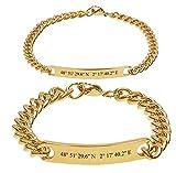 aplusashop ID Edelstahl Armbänder Partnerlook + Gravur Nach Wunsch 4 Farben Partnerarmbänder mit Box ♥ (Gold)