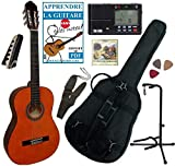Pack GUITARE Classique 4/4 & Accessoires / Son et manufacture de qualité, permet de prendre des cours, pack avec 7 accessoires (housse, accordeur électronique, support de guitare, capodastre à pince, jeu de cordes, sangle et 3 médiators) / Corps ...